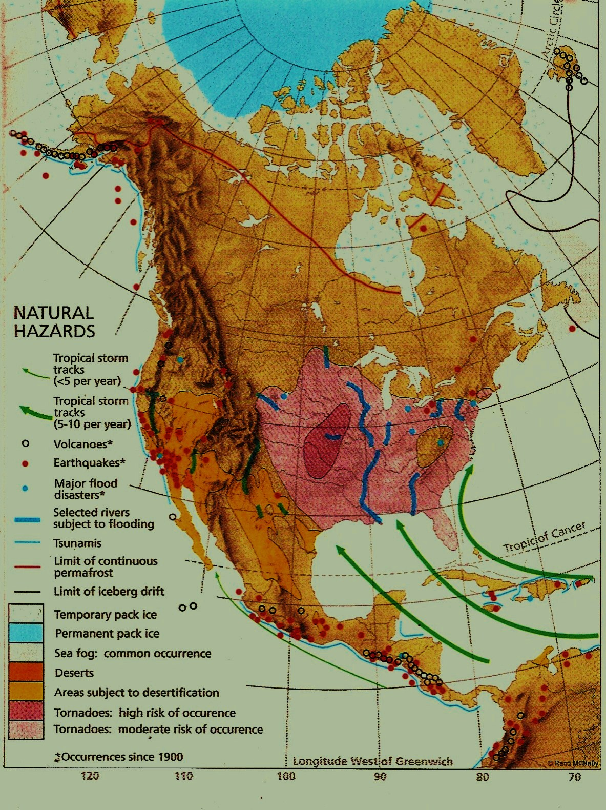 Geography Of The Us And Canada In The News Natural Hazards Map