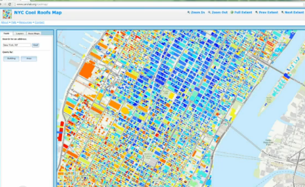 Check Out NYC Cool Roofs MapClimate Change. This Map Displays The Relative  Amount Of Solar Radiation Absorbed By Surfaces In New York City, And  Identifies ...
